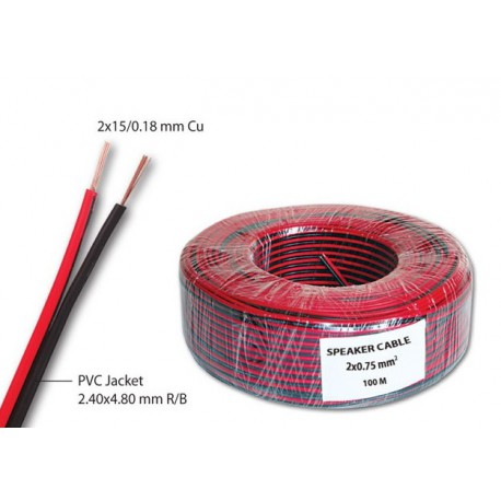 Zvučnički kabl 2x0.75mm2 (crveno-crna žica) (100m)