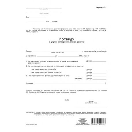 O1 (A4 OFS) - Potvrda o ukupno ostvarenom ličnom dohotku