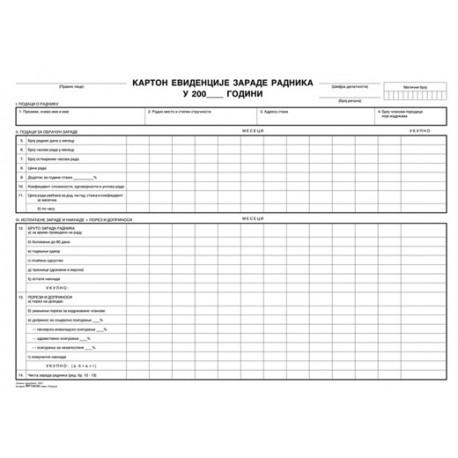 LD karton - evidencija zarada
