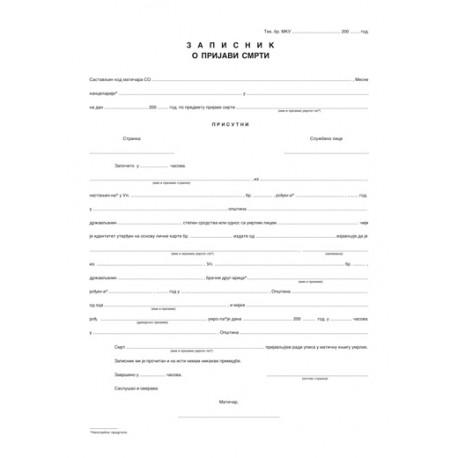 Zapisnik o prijavi smrti (A3 OFS) obr.13