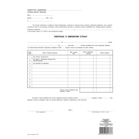 Uverenje o imovinskom stanju (A3 OFS)