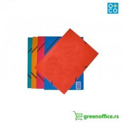 Kartonska fascikla sa gumicom i preklopom O+CO u boji
