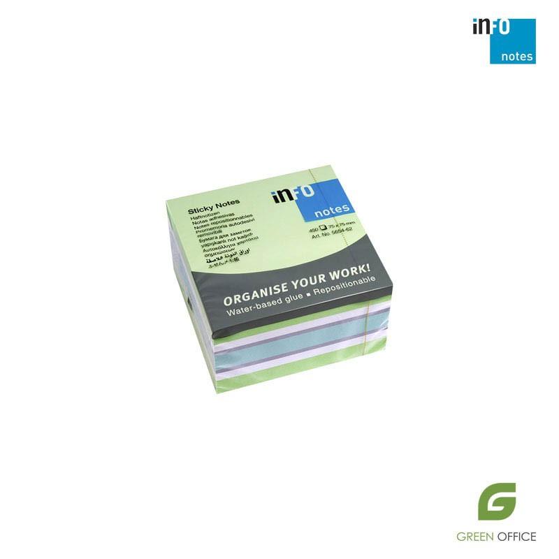 Info notes (samolepljivi blokčići) green miks 75x75 mm 1/450